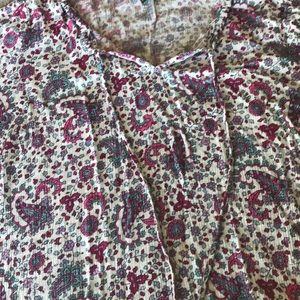 Pink, purple, grey, and white paisley top